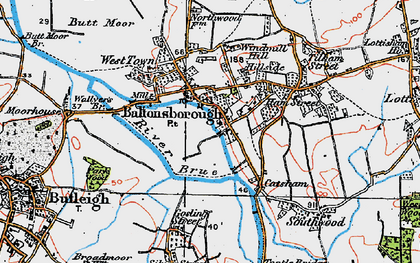 Old map of Baltonsborough in 1919