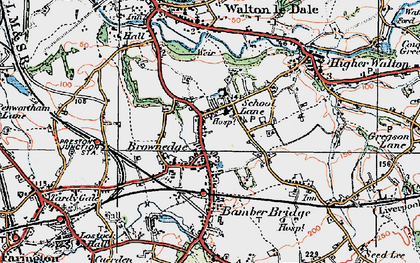Old map of Bamber Bridge in 1924