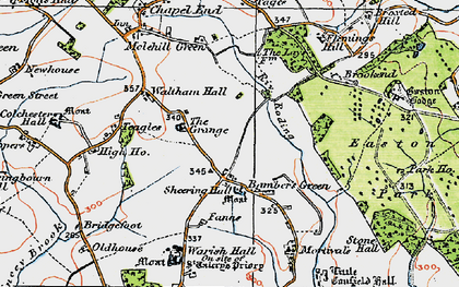 Old map of Bamber's Green in 1919