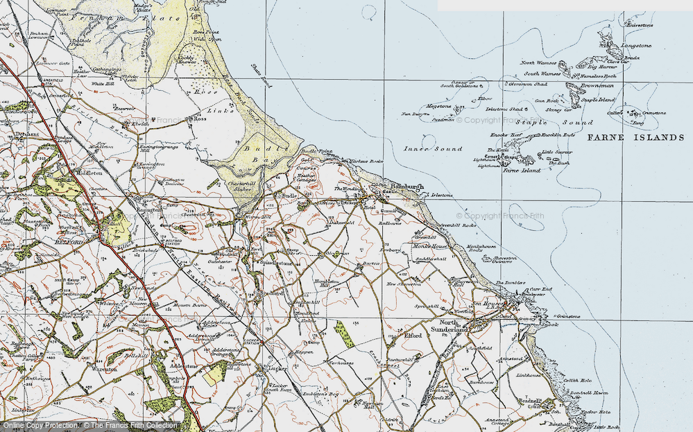 Old Map of Historic Map covering Bamburgh Castle in 1926