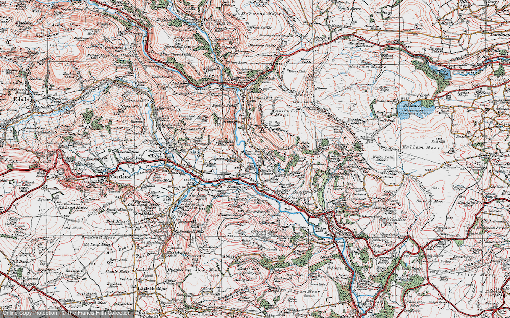 Old Map of Historic Map covering Bamford Moor in 1923