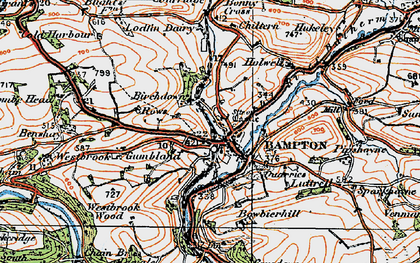 Old map of Bampton in 1919