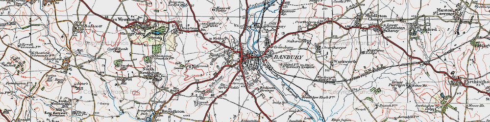 Old map of Banbury in 1919