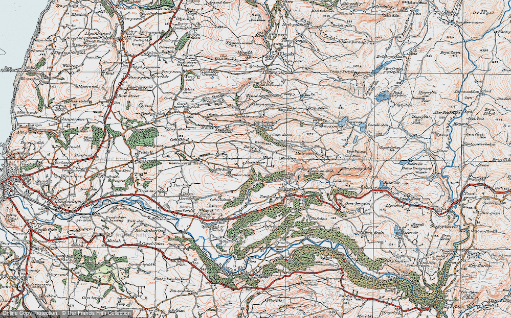 Old Map of Historic Map covering Afon Melindwr in 1922