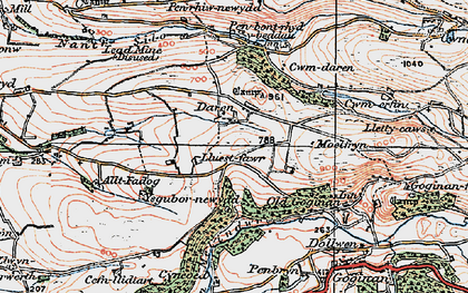 Old map of Afon Melindwr in 1922