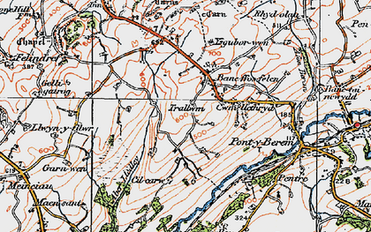 Old map of Aber Lledle in 1923