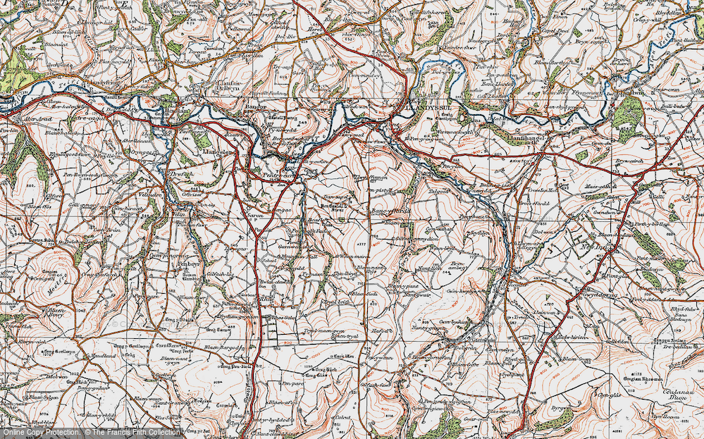 Old Map of Historic Map covering Afon Tyweli in 1923