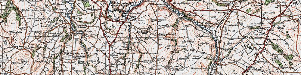 Old map of Afon Tyweli in 1923