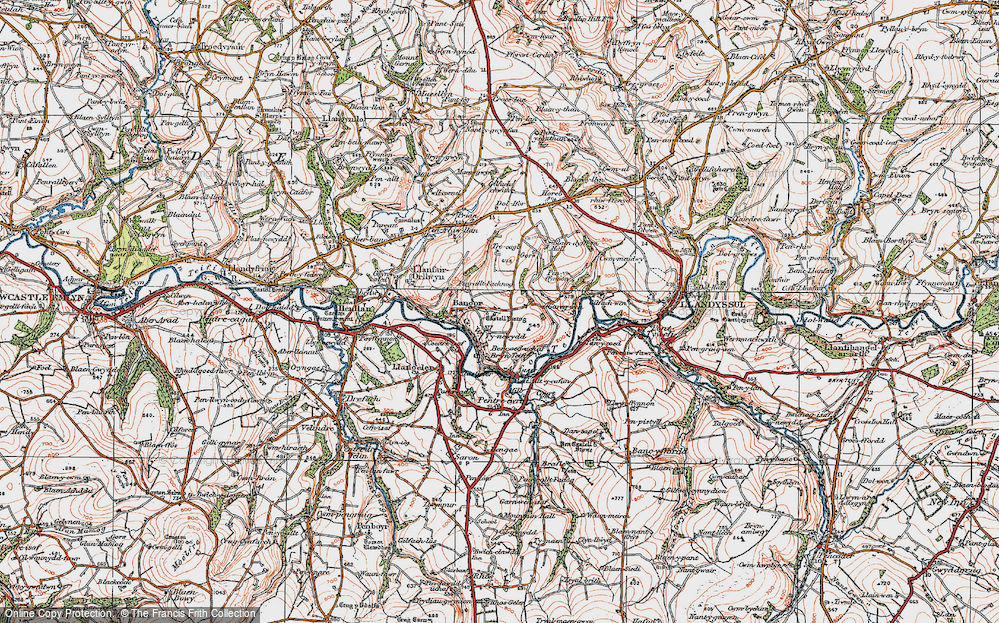 Old Map of Historic Map covering Aberhoffnant in 1923