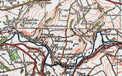 Old map of Bangor Teifi in 1923