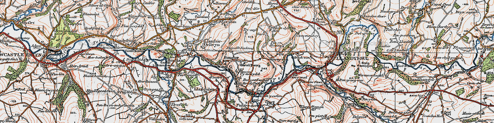 Old map of Aberhoffnant in 1923