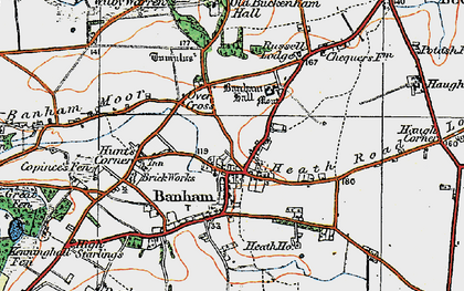 Old map of Banham in 1920