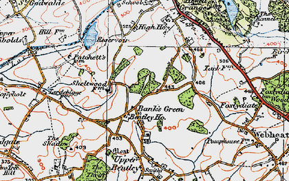 Old map of Bank's Green in 1919
