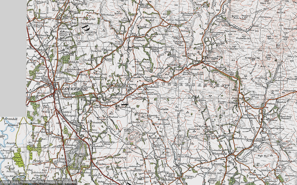 Old Map of Historic Map covering Whitstonehill in 1925