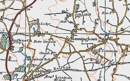Old map of Banningham in 1922