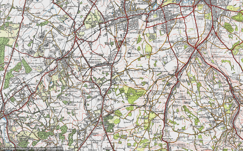 Old Map of Banstead, 1920 in 1920