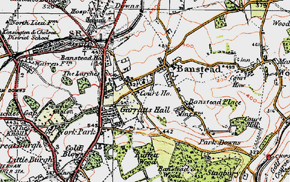 Old map of Banstead in 1920
