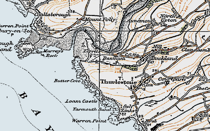 Old map of Bantham in 1919