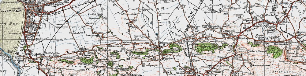 Old map of Banwell in 1919