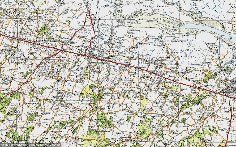 Old Map of Bapchild, 1921 in 1921