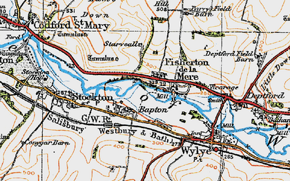 Old map of Bapton in 1919