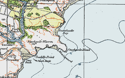 Old map of Barafundle Bay in 1922