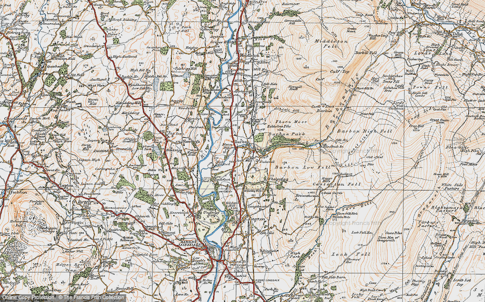 Old Map of Historic Map covering Ashdale Gill in 1925