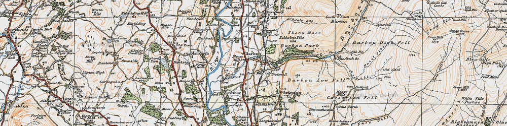 Old map of Barbon in 1925