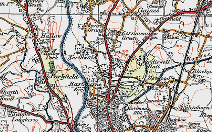 Old map of Barbourne in 1920