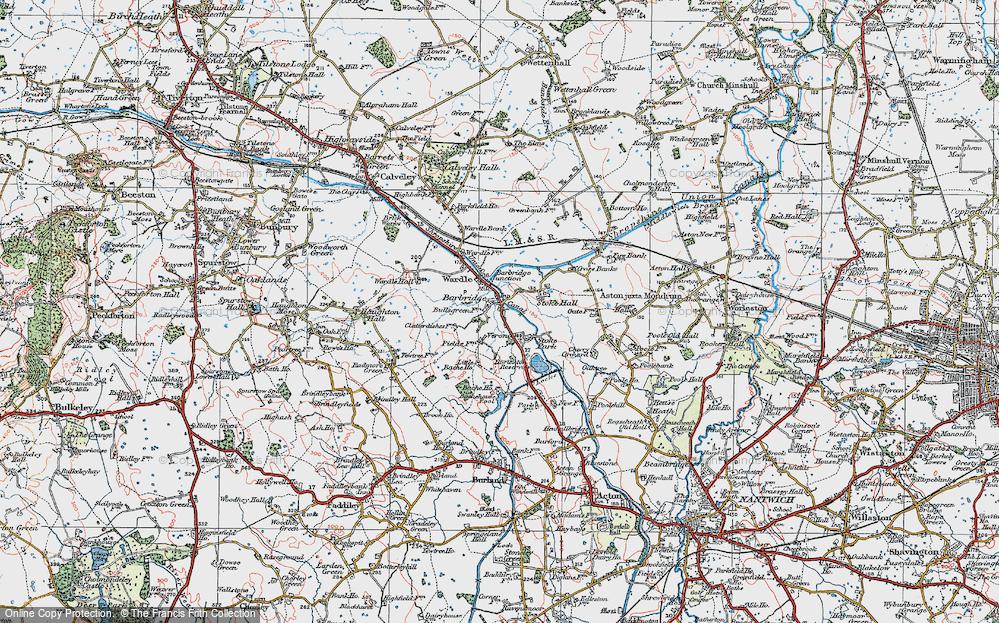 Old Map of Barbridge, 1923 in 1923