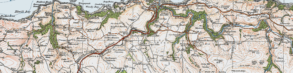 Old map of Barbrook in 1919