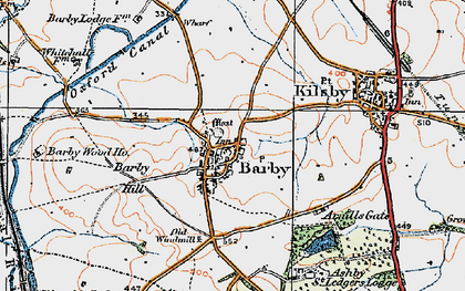 Old map of Barby Hill in 1919
