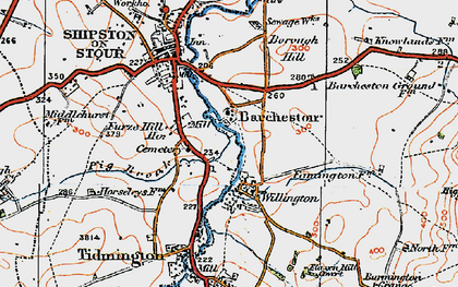 Old map of Barcheston in 1919