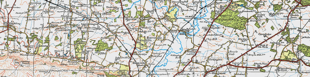 Old map of Barcombe in 1920
