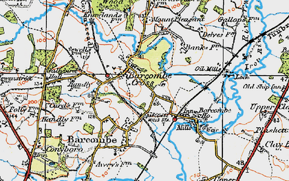 Old map of Barcombe Cross in 1920