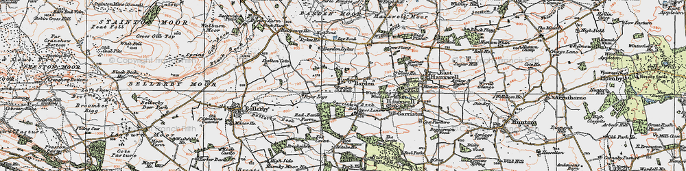 Old map of Barden in 1925