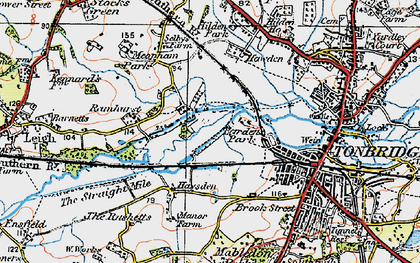 Old map of Barden Park in 1920