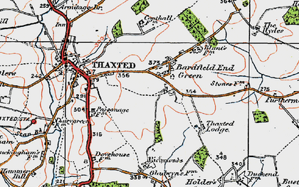 Old map of Bardfield End Green in 1919