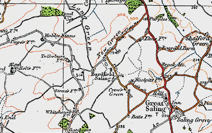 Old map of Bardfield Saling in 1919