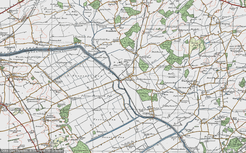 Old Map of Historic Map covering Bardney Common in 1923