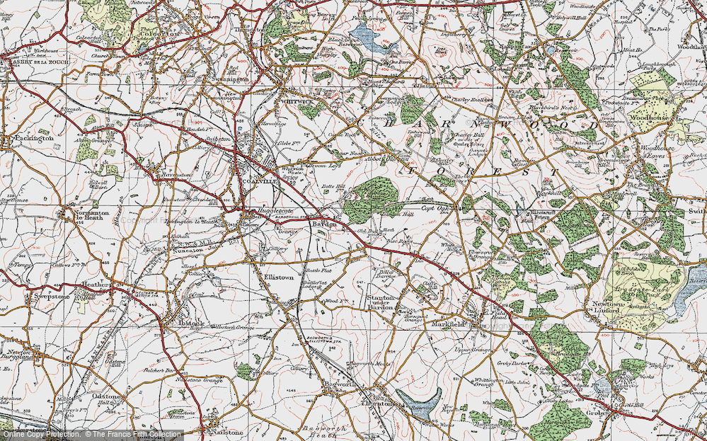 Old Map of Historic Map covering Bardon Hall in 1921
