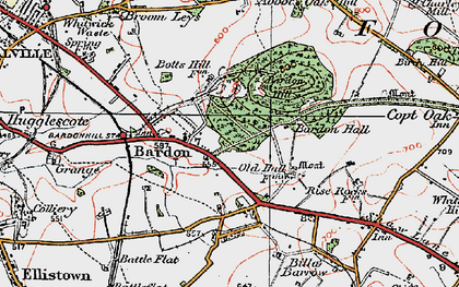 Old map of Bardon in 1921