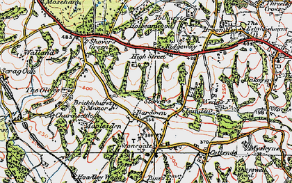 Old map of Bardown in 1920