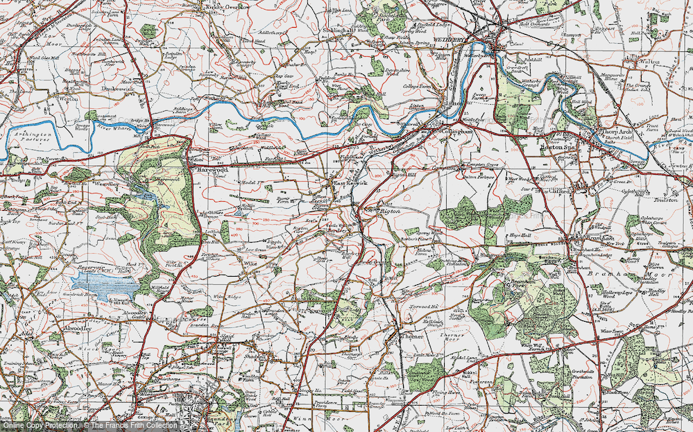 Old Map of Historic Map covering Barker's Plantn in 1925