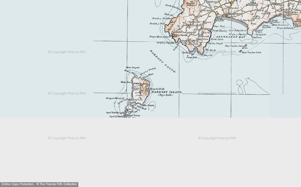 Old Map of Historic Map covering Bardsey Sound in 1922