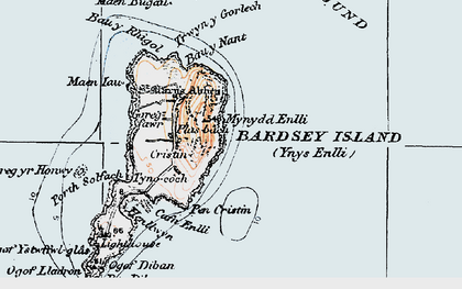 Old map of Bardsey Island in 1922