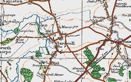 Old map of Bardwell Windmill in 1920
