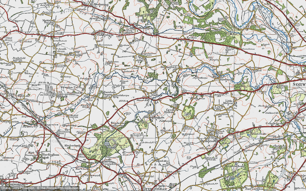 Old Map of Barford, 1922 in 1922