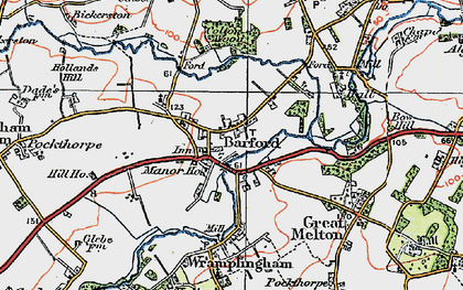 Old map of Barford in 1922