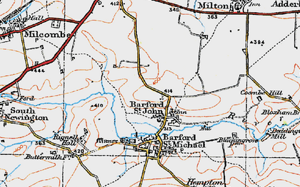 Old map of Barford St John in 1919